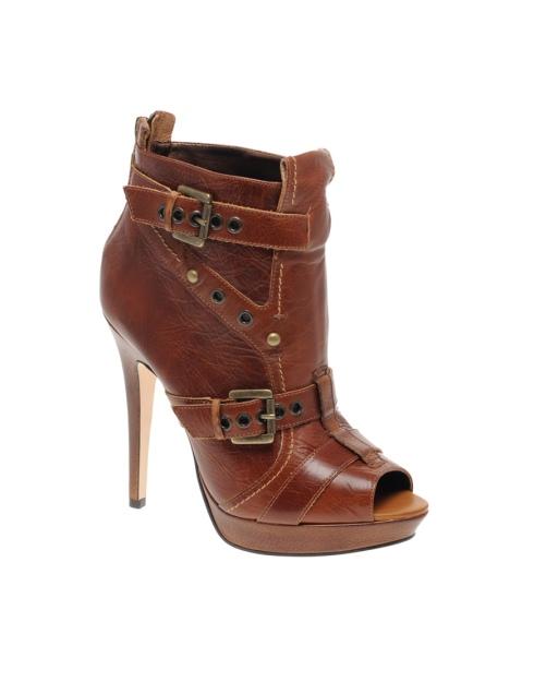 Asos Akiera Leather Peep Toe Shoe Boots