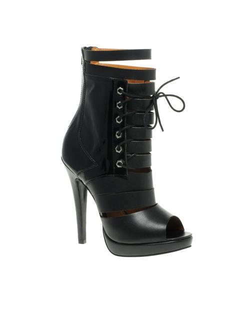 Asos Black Boston Leather Laced Shoeboots
