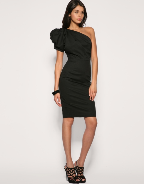 Asos Exaggerated One Shoulder Dress