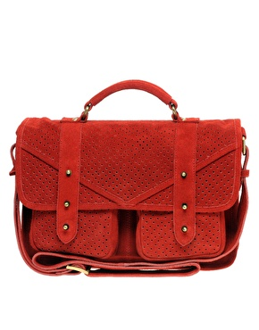 ASOS Suede Studded Punchout Pocket Satchel
