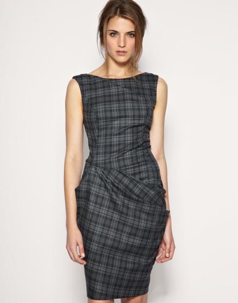 Asos Tailored Check Pleat Fold Dress