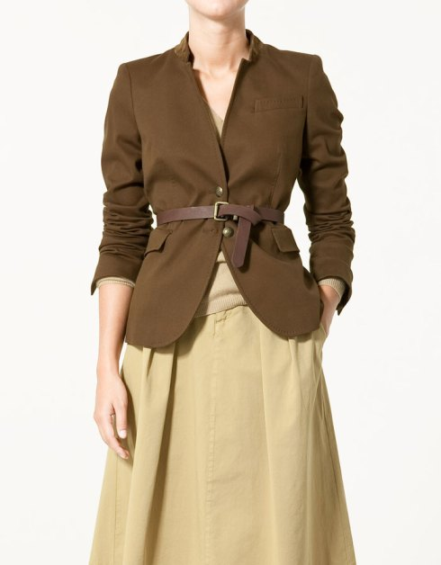 Zara Blazer with Leather Collar and Elbow Patches