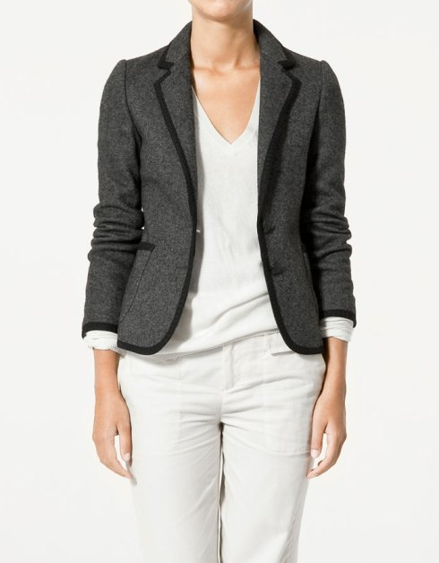 Zara Boiled Wool Blazer With Contrasting Edging