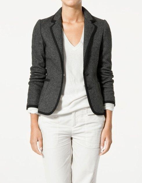 Zara Boiled Wool Blazer With Contrasting Edging