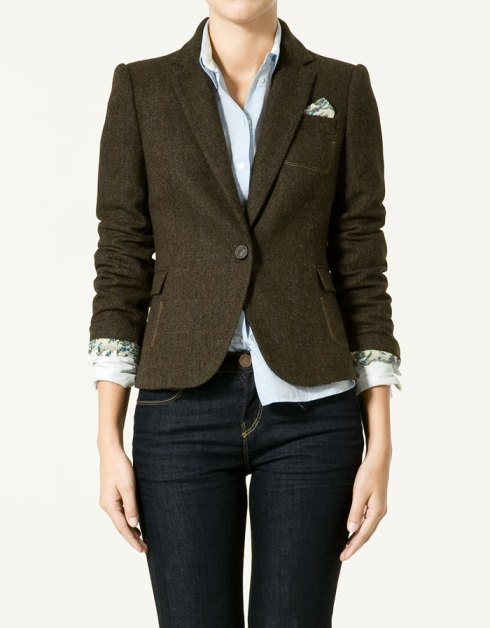 Zara Checked Wool Blazer with Elbow Patches