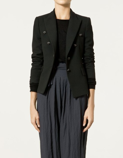 Zara Cool Wool Blazer with Shoulder Pads