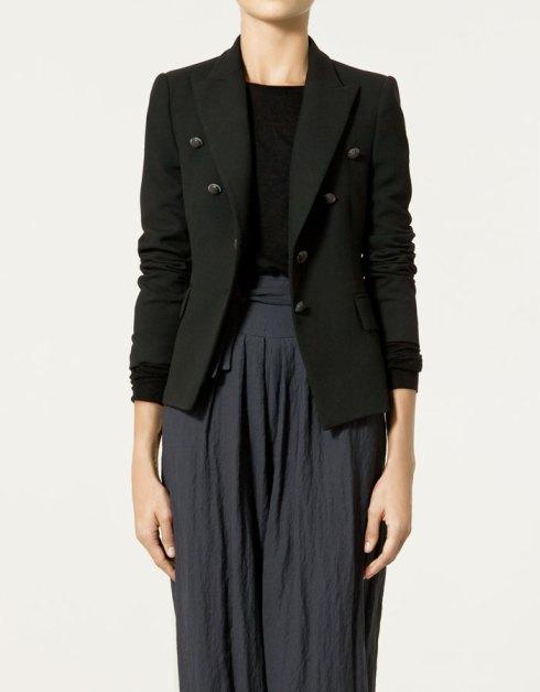 Zara Cool Wool Blazer with Shoulder Pads