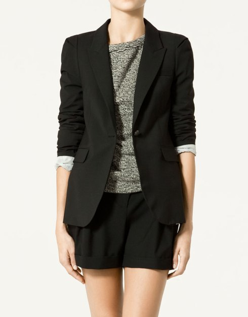 Zara Cool Wool Blazer with Turn-up Sleeves