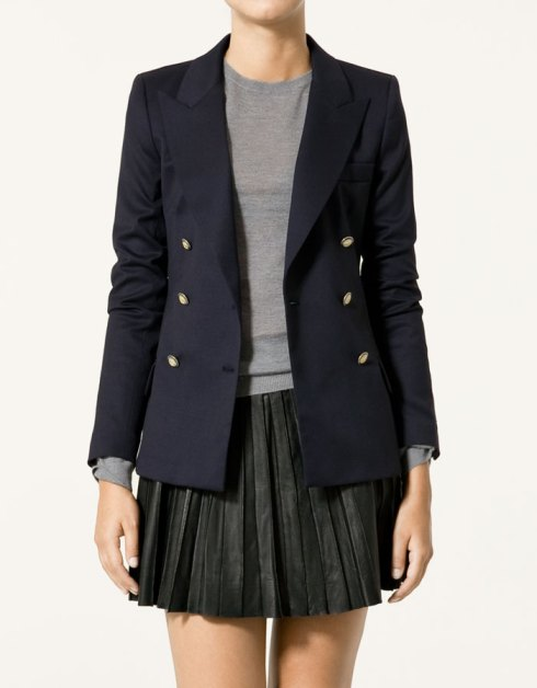 Zara Crossed Wool Blazer