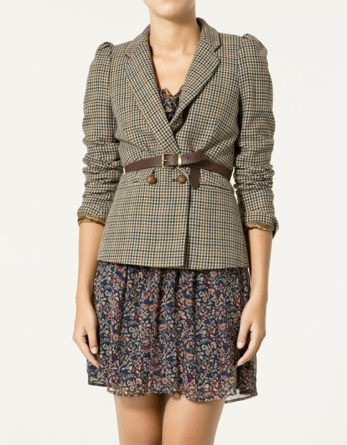 Zara Double Breasted Checked Blazer