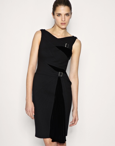 Karen Millen Velvet panel shift dress