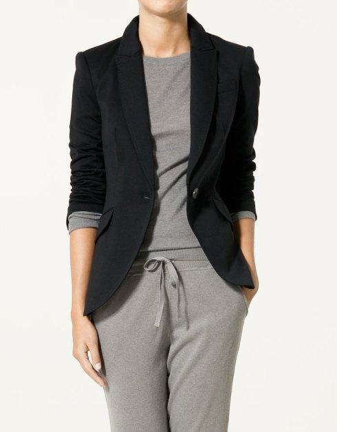 Zara Ponte de Roma Knit Blazer