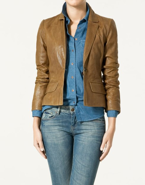 Zara Short Leather Blazer