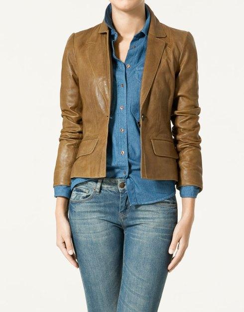Zara Short Leather Blazer