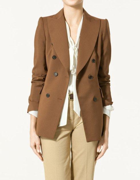 Zara Studio Double Breasted Blazer with Wide Lapels