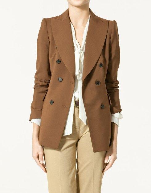 Zara Studio Double Breasted Blazer with Wide Lapels