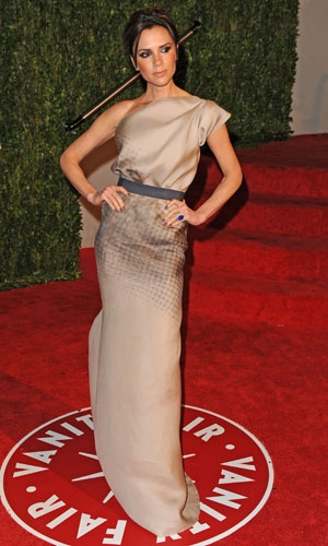 Victoria Beckham wearing dress from her collection