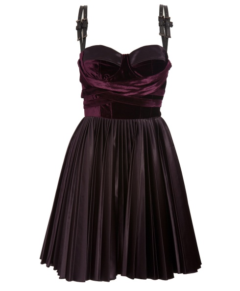 Velvet Dress with Leather Buckle by Versus