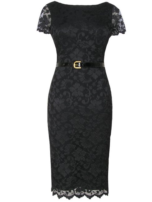 Alexon Black Lace Scallop Dress_£70