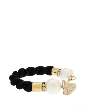 Gemma Lister Black Rope And Faux Pearl Cuff_£80