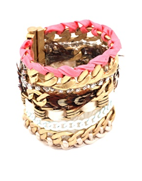 Juicy Couture Wide Multi Chain And Feather Bracelet_£100