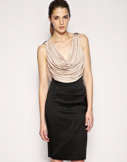 Karen Millen Jersey Draped Structured Dress_£180