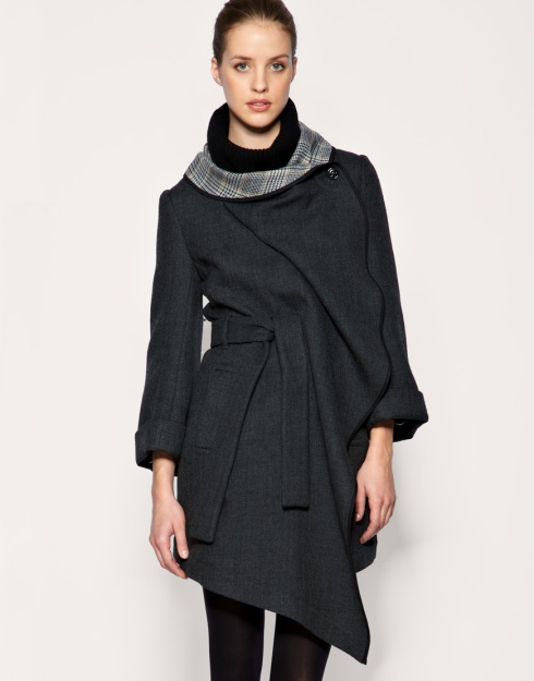 Karen Millen Unstructured Drape Coat with Check Lining_£265