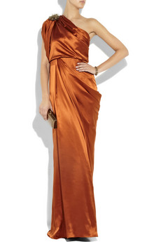 Matthew Williamson_Asymmetric draped silk-satin gown_£1095