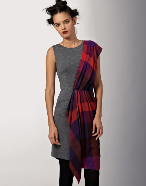 McQ by Alexander McQueen Sleeveless Flannel Check Drape Dress_£230