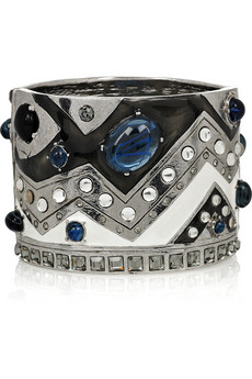 Oscar de la Renta_Silver-plated enamel and crystal cuff_£525