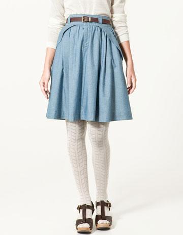 Zara Chambray Skirt with Pockets_£29.99
