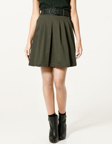 Zara Pleated Skirt with Plaited Belt_£25.99