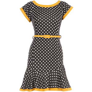 Black_Yellow spot flare dress_£28