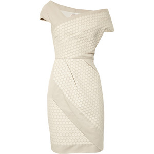 Lela Rose_Wrap-effect cotton-crepe dress_$995