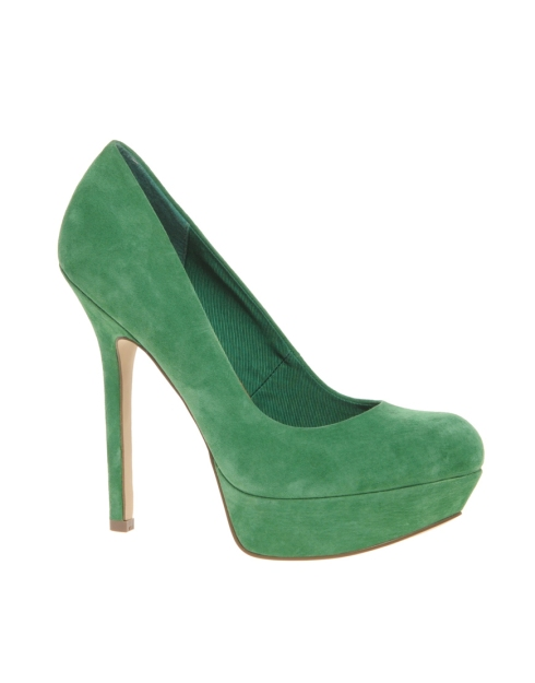 ASOS PUMP IT UP Suede Platform Court Shoe_Green_£55