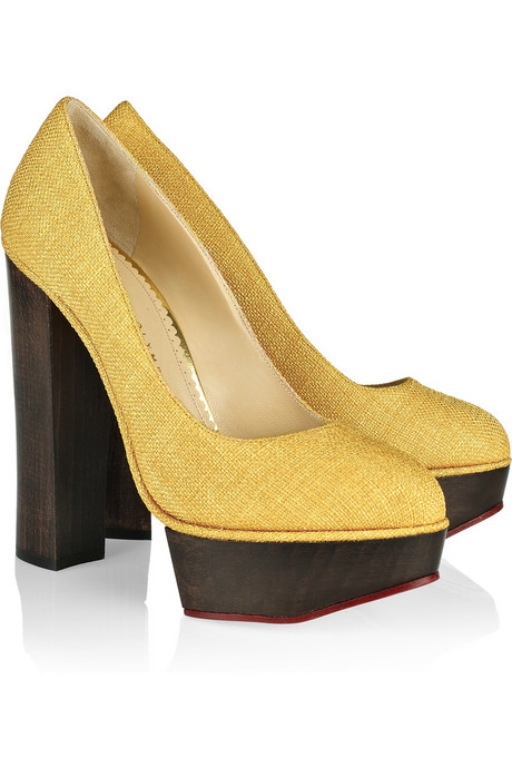 Charlotte Olympia_Bebel textured cotton platform pumps_£630