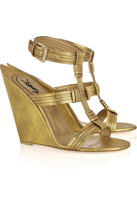 Yves Saint Laurent_Venice leather sculpted-wedge sandals_£805