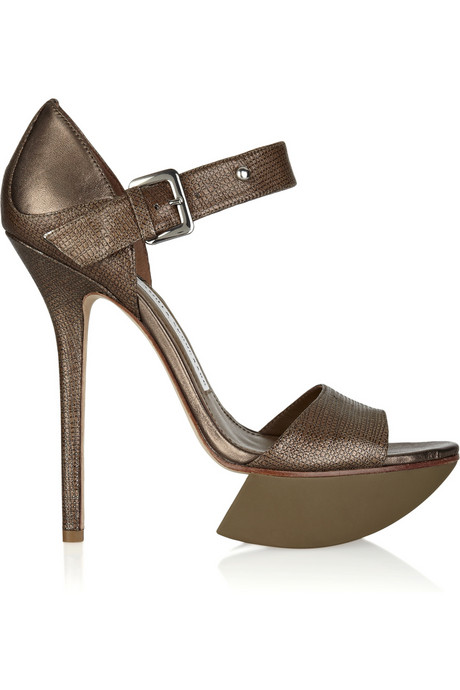 Camilla Skovgaard_Metallic textured leather platform sandals_£325