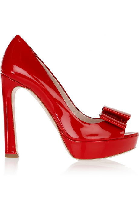 Miu Miu Bow-embellished patent-leather pumps_£400