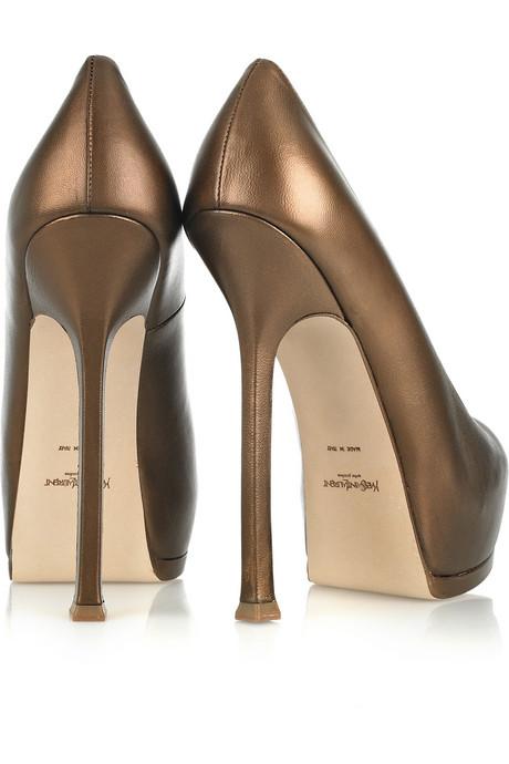 Yves Saint Laurent_Tribtoo metallic leather pumps_£565