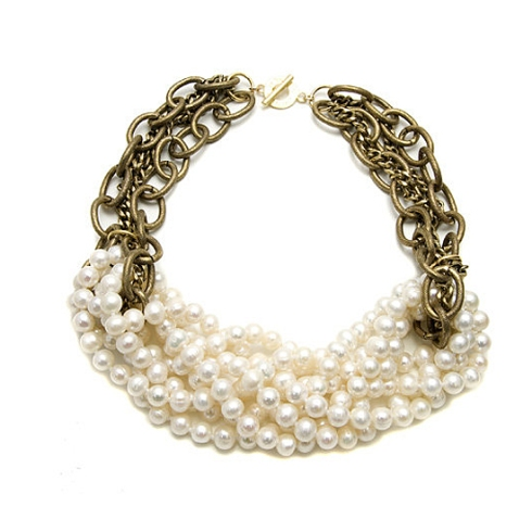 Janna Conner Knotted White Pear Necklace $190
