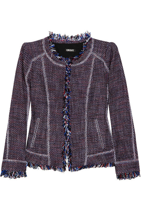 DKNY Fringed cotton-blend tweed jacket_£405