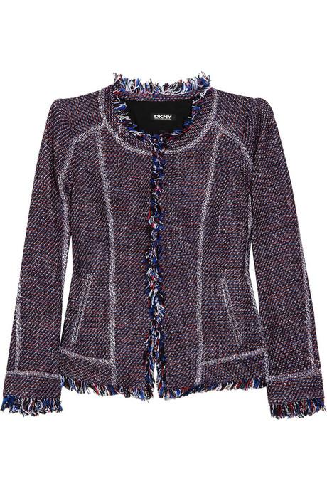 DKNY Fringed cotton-blend tweed jacket_£405