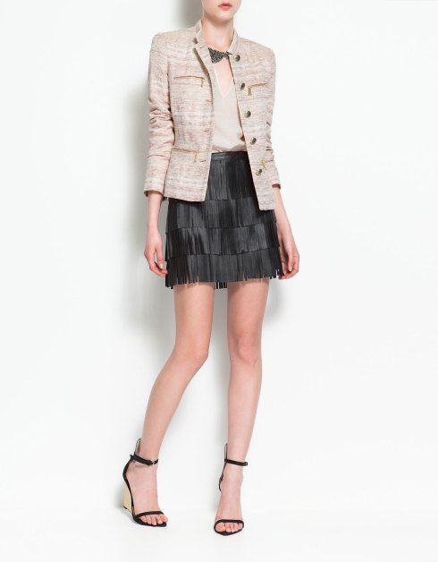 Zara PIPED BLAZER WITH ZIPS_£70